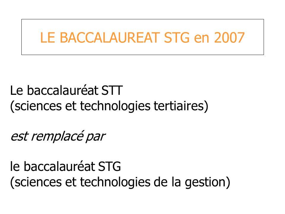 LE BACCALAUREAT STG en 2007 Le baccalauréat STT (sciences et technologies tertiaires) est remplacé par le baccalauréat STG (sciences et technologies d