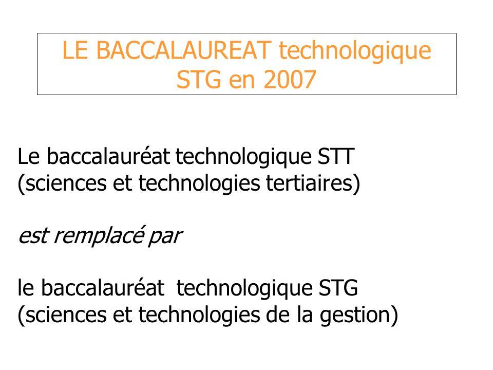 LE BACCALAUREAT technologique STG en 2007 Le baccalauréat technologique STT (sciences et technologies tertiaires) est remplacé par le baccalauréat tec