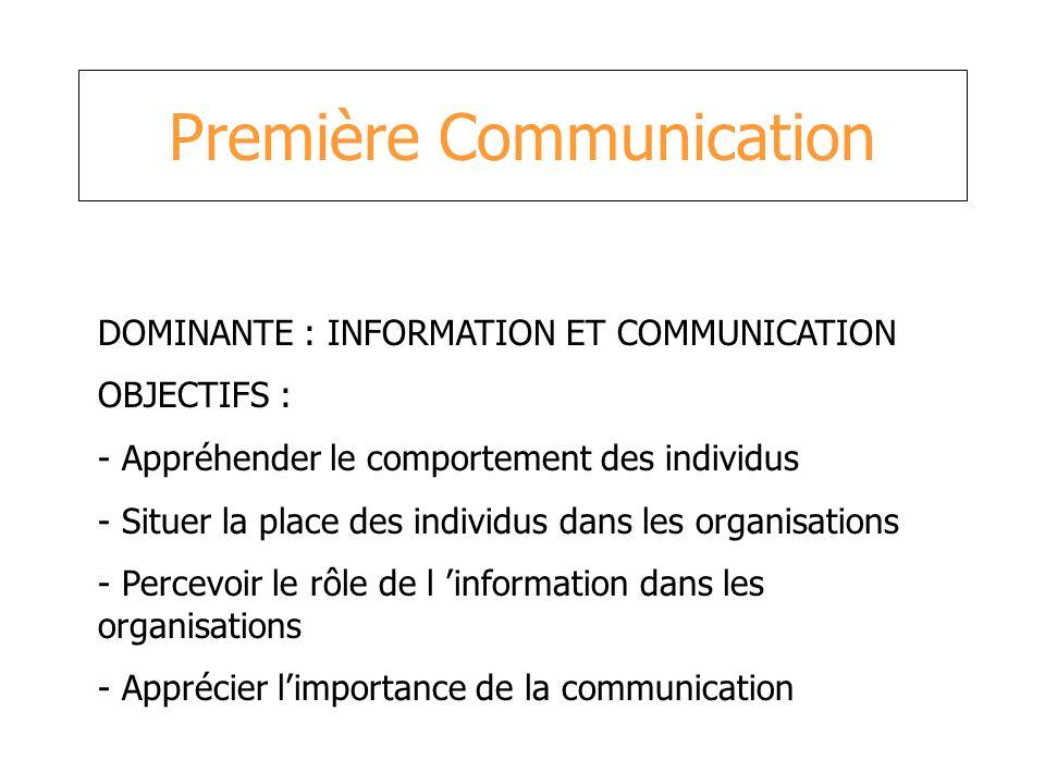 Première Communication DOMINANTE : INFORMATION ET COMMUNICATION OBJECTIFS : - Appréhender le comportement des individus - Situer la place des individu