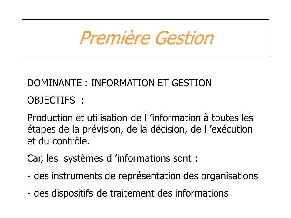 Première Gestion DOMINANTE : INFORMATION ET GESTION OBJECTIFS : Production et utilisation de l information à toutes les étapes de la prévision, de la