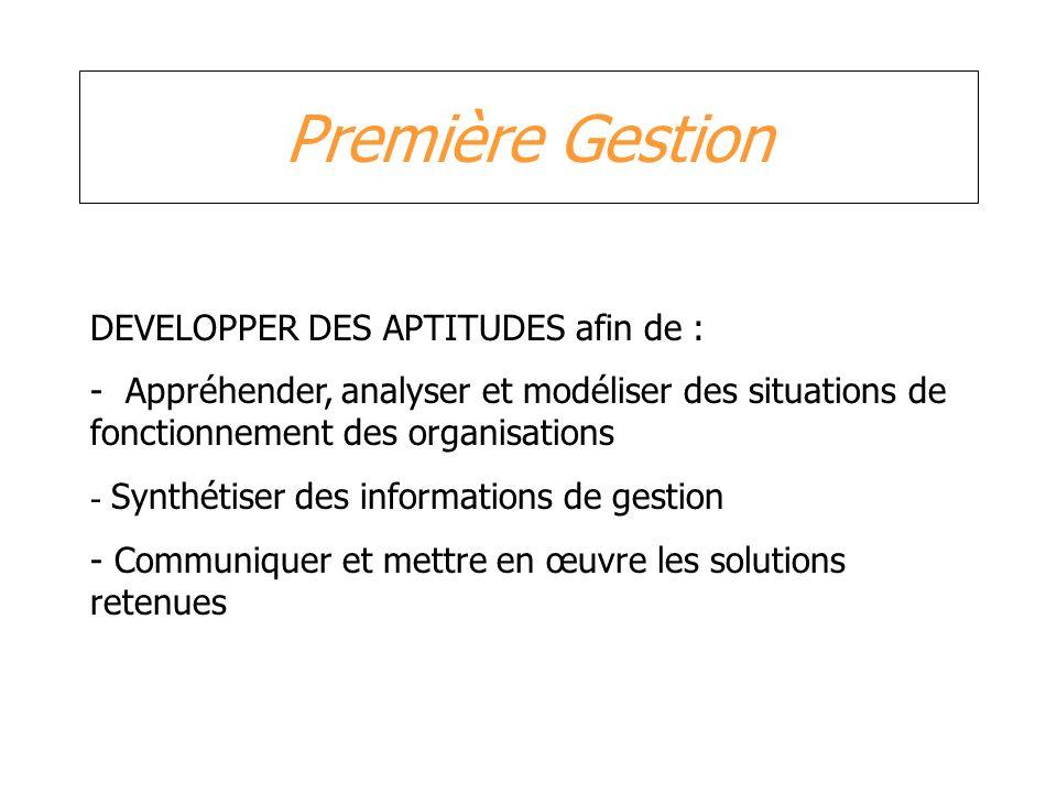 Première Gestion DEVELOPPER DES APTITUDES afin de : - Appréhender, analyser et modéliser des situations de fonctionnement des organisations - Synthéti