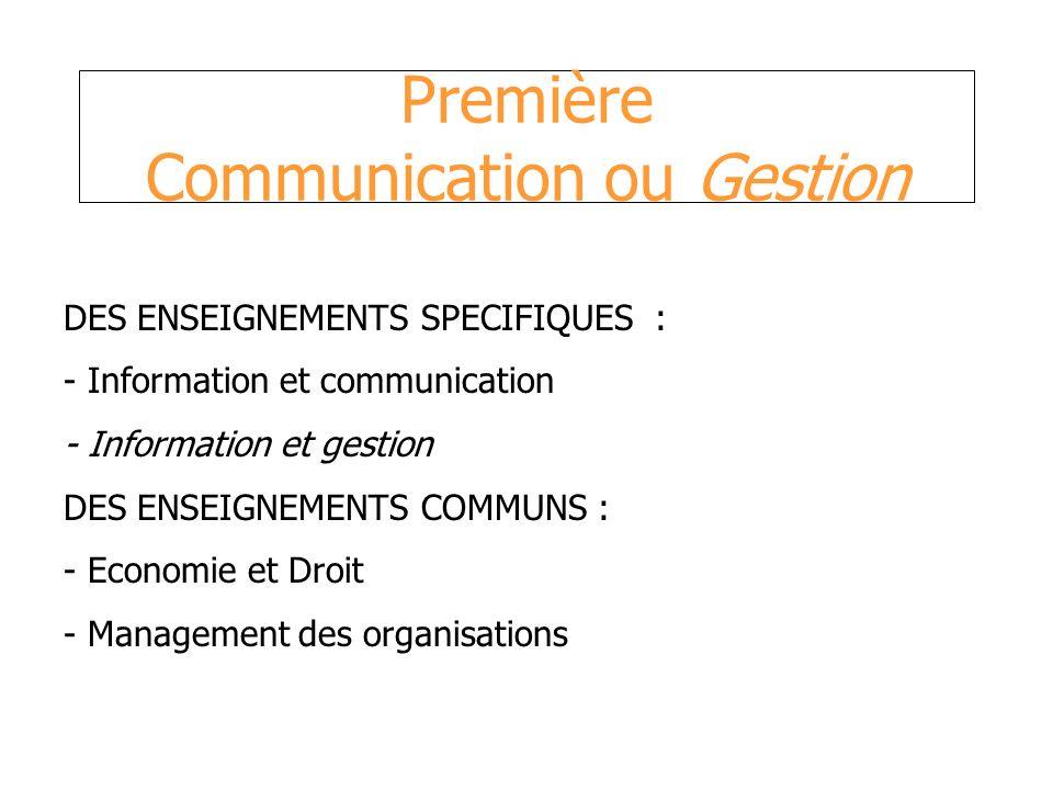 Première Gestion Enseignements technologiques : - Economie - Droit : 3 h + (1 h) - Management des organisations : 1h + (1 h) - Information et gestion : 3 h + (2 h) - Information et communication : 1 h + (2 h)
