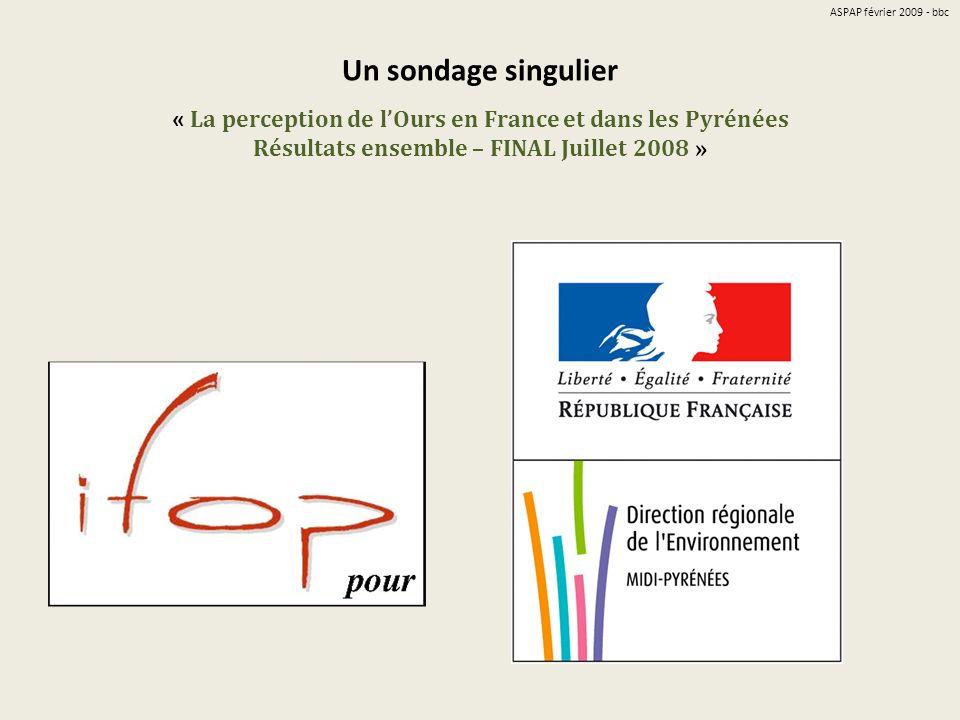 Un sondage singulier « La perception de lOurs en France et dans les Pyrénées Résultats ensemble – FINAL Juillet 2008 » ASPAP février 2009 - bbc