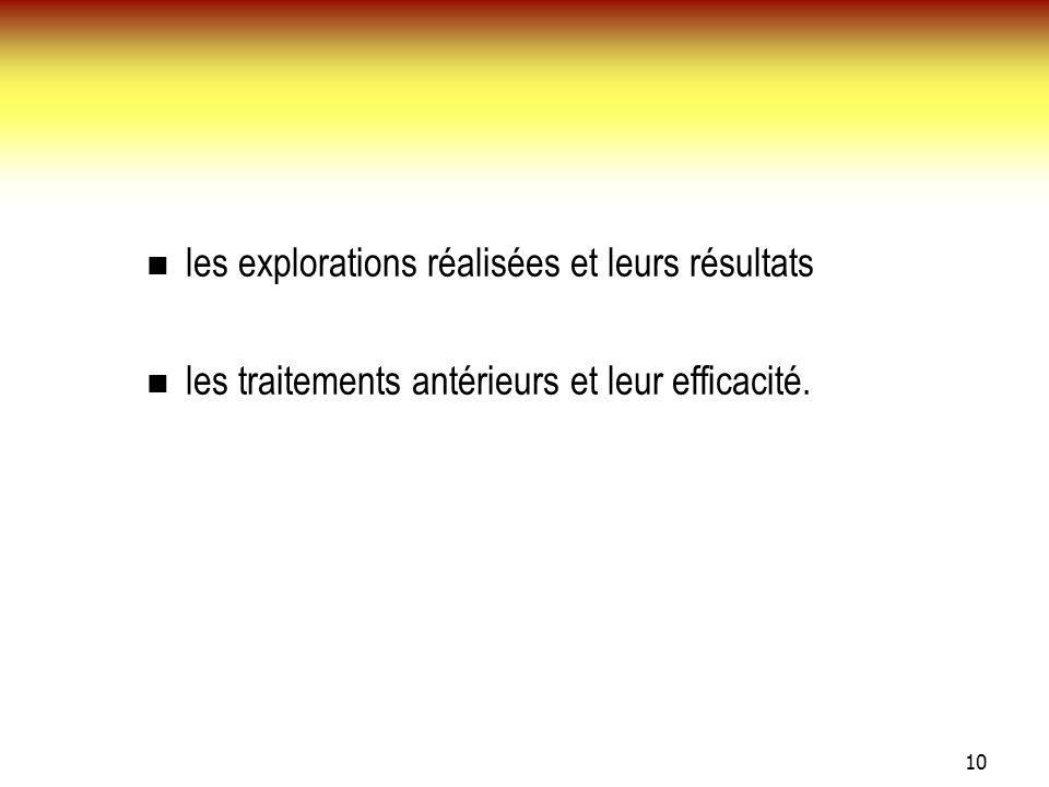 10 les explorations réalisées et leurs résultats les traitements antérieurs et leur efficacité.