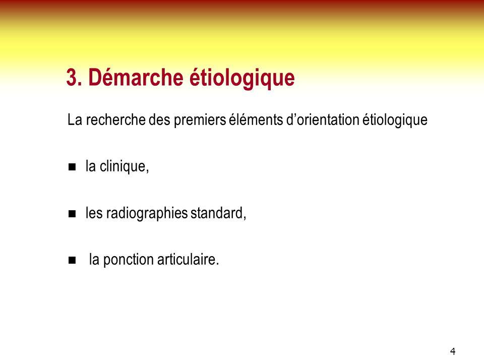 4 3. Démarche étiologique La recherche des premiers éléments dorientation étiologique la clinique, les radiographies standard, la ponction articulaire