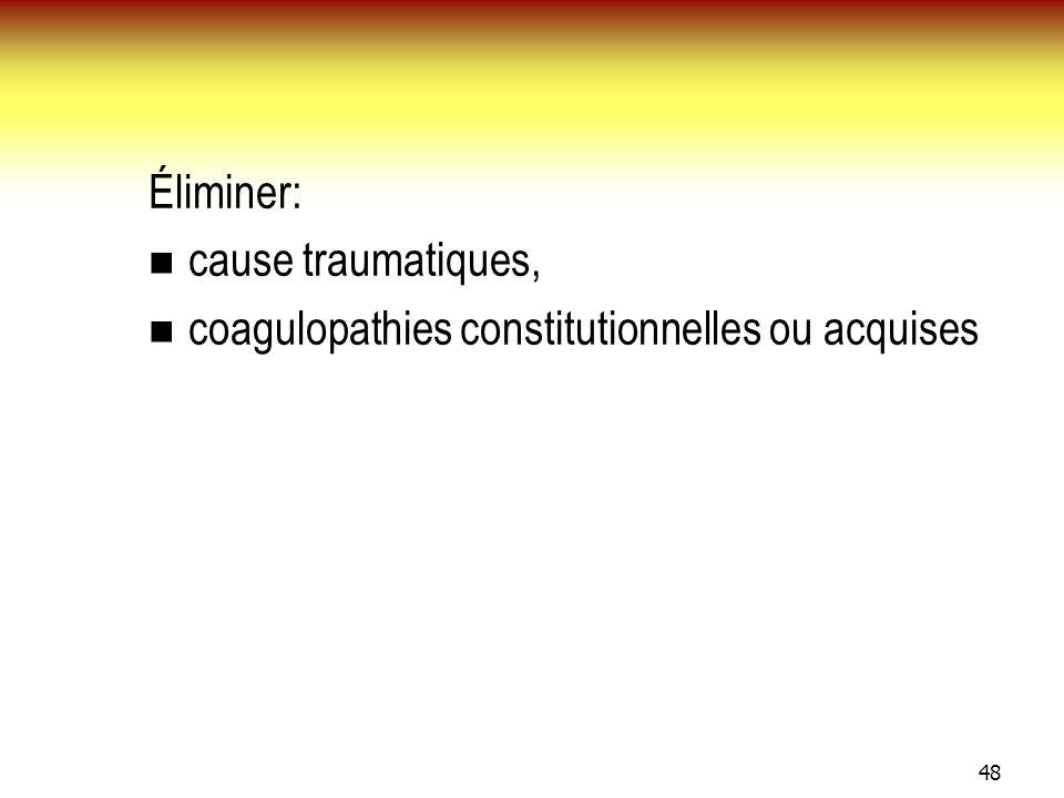 48 Éliminer: cause traumatiques, coagulopathies constitutionnelles ou acquises