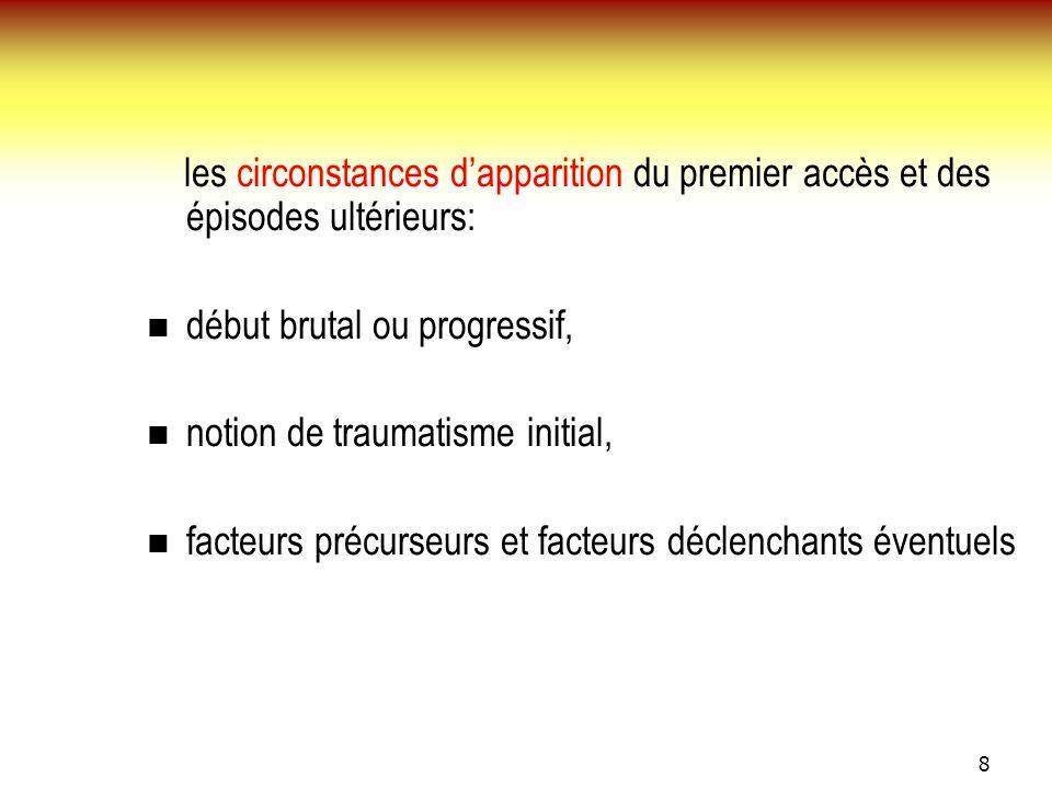 8 les circonstances dapparition du premier accès et des épisodes ultérieurs: début brutal ou progressif, notion de traumatisme initial, facteurs précu