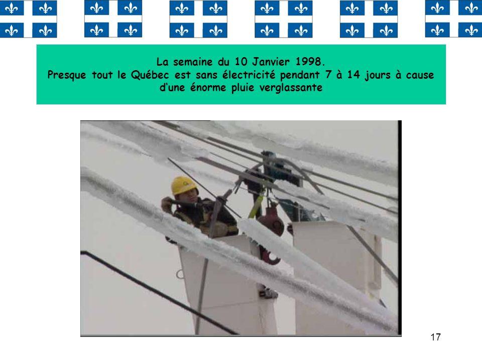 17 La semaine du 10 Janvier 1998. Presque tout le Québec est sans électricité pendant 7 à 14 jours à cause dune énorme pluie verglassante