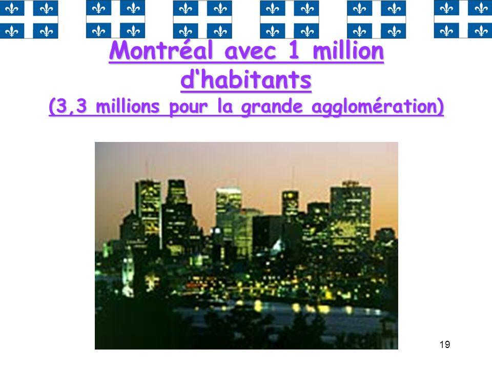 19 Montréal avec 1 million dhabitants (3,3 millions pour la grande agglomération)