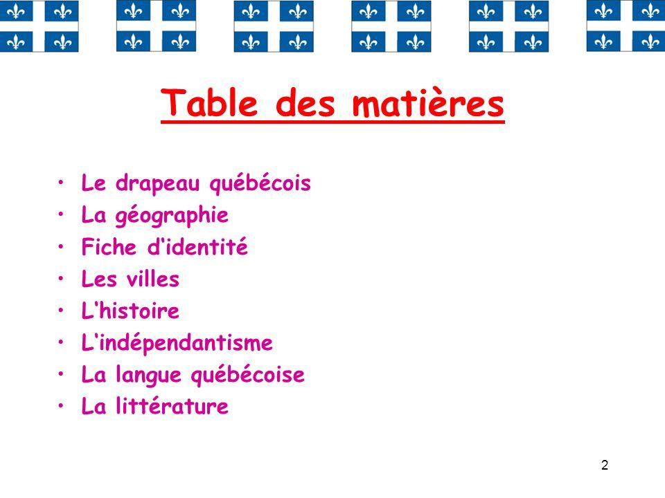 2 Table des matières Le drapeau québécois La géographie Fiche didentité Les villes Lhistoire Lindépendantisme La langue québécoise La littérature