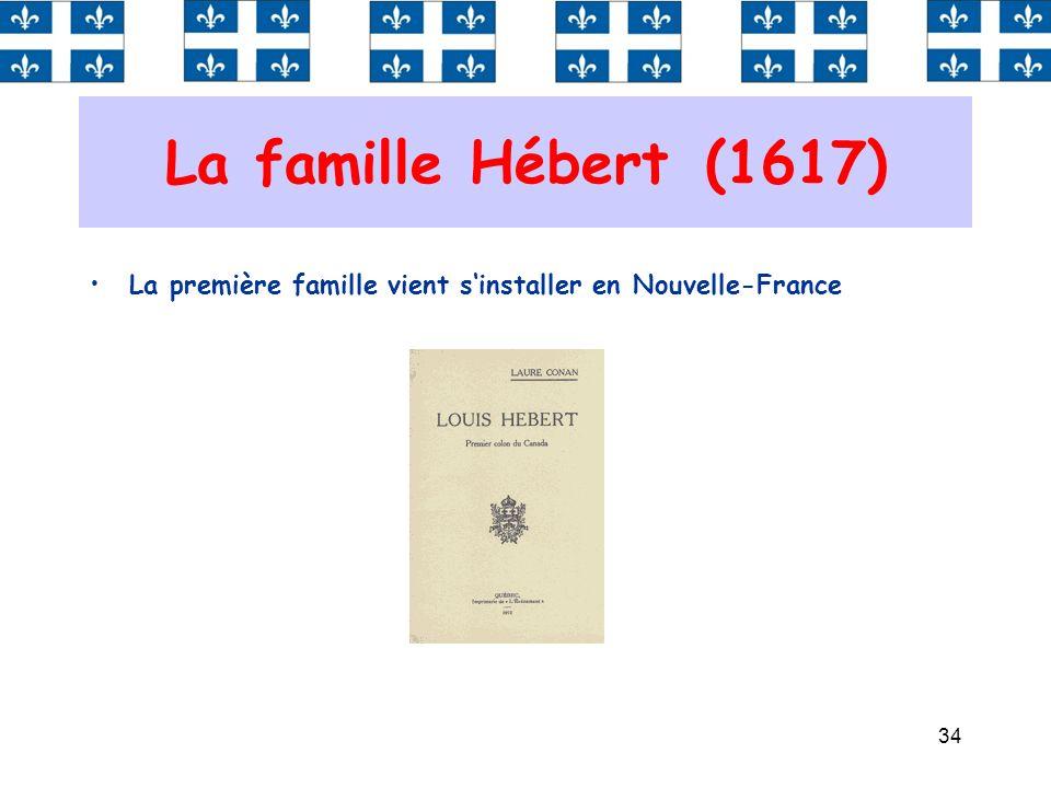 34 La famille Hébert (1617) La première famille vient sinstaller en Nouvelle-France