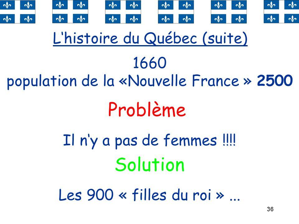 36 Lhistoire du Québec (suite) 1660 population de la «Nouvelle France » 2500 Problème Il ny a pas de femmes !!!! Les 900 « filles du roi »... Solution