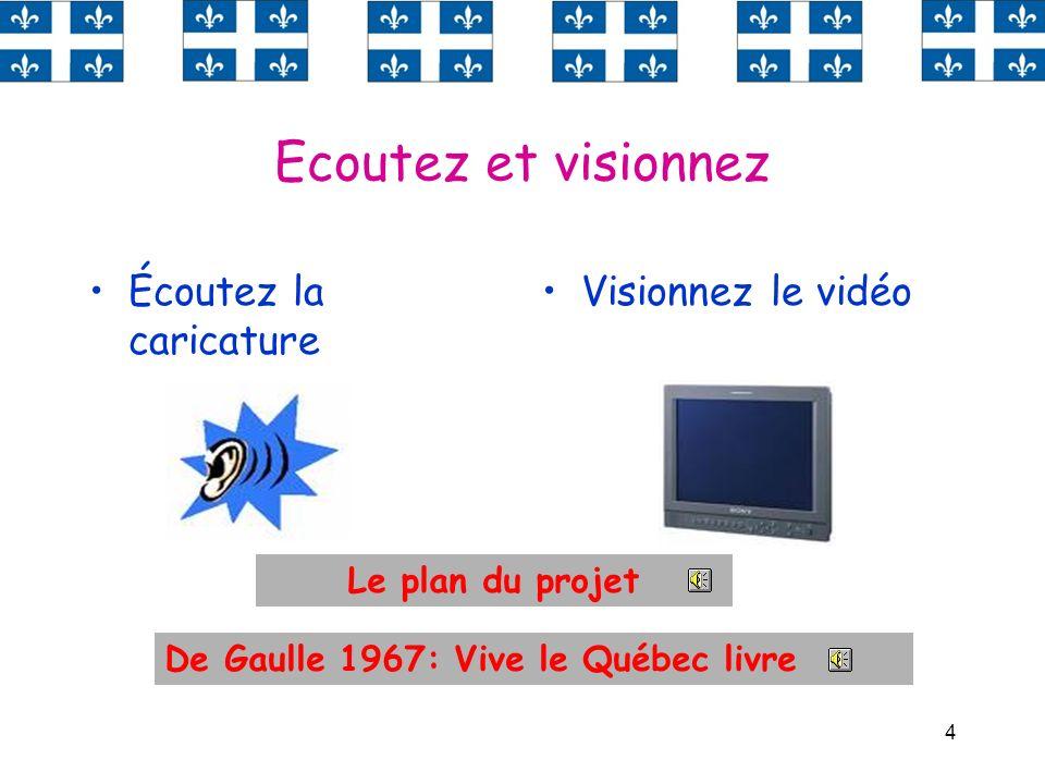 4 Ecoutez et visionnez Écoutez la caricature Visionnez le vidéo Le plan du projet De Gaulle 1967: Vive le Québec livre