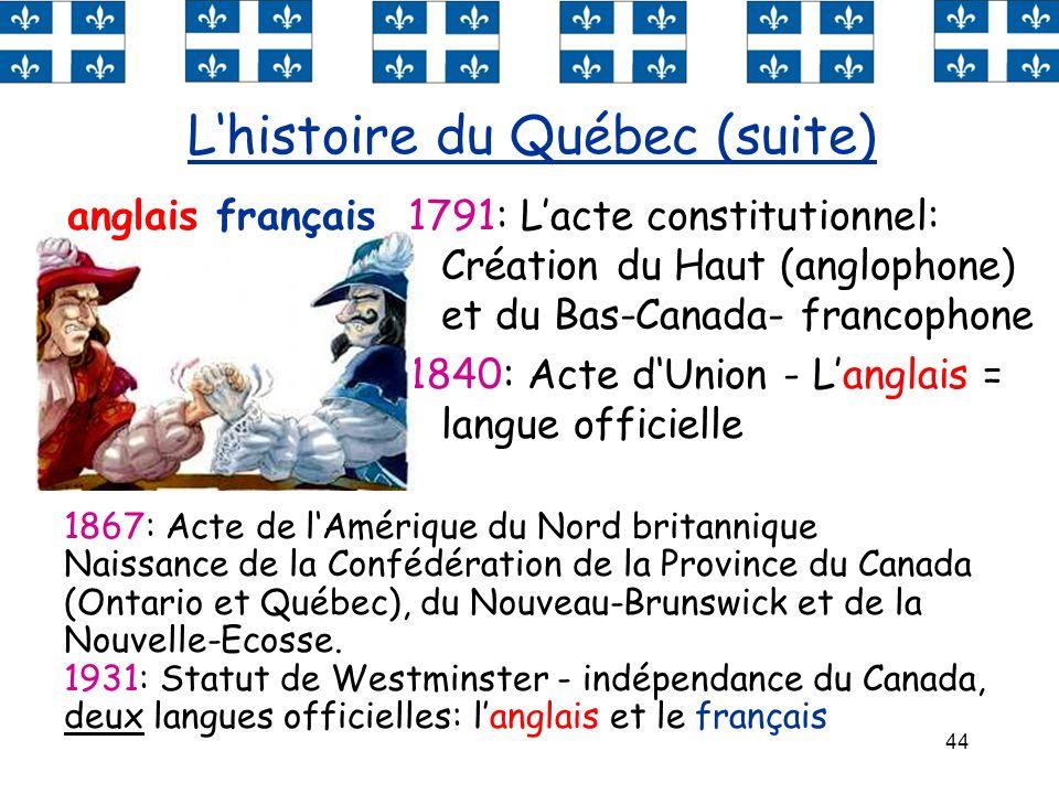 44 1791: Lacte constitutionnel: Création du Haut (anglophone) et du Bas-Canada- francophone 1840: Acte dUnion - Langlais = langue officielle Lhistoire