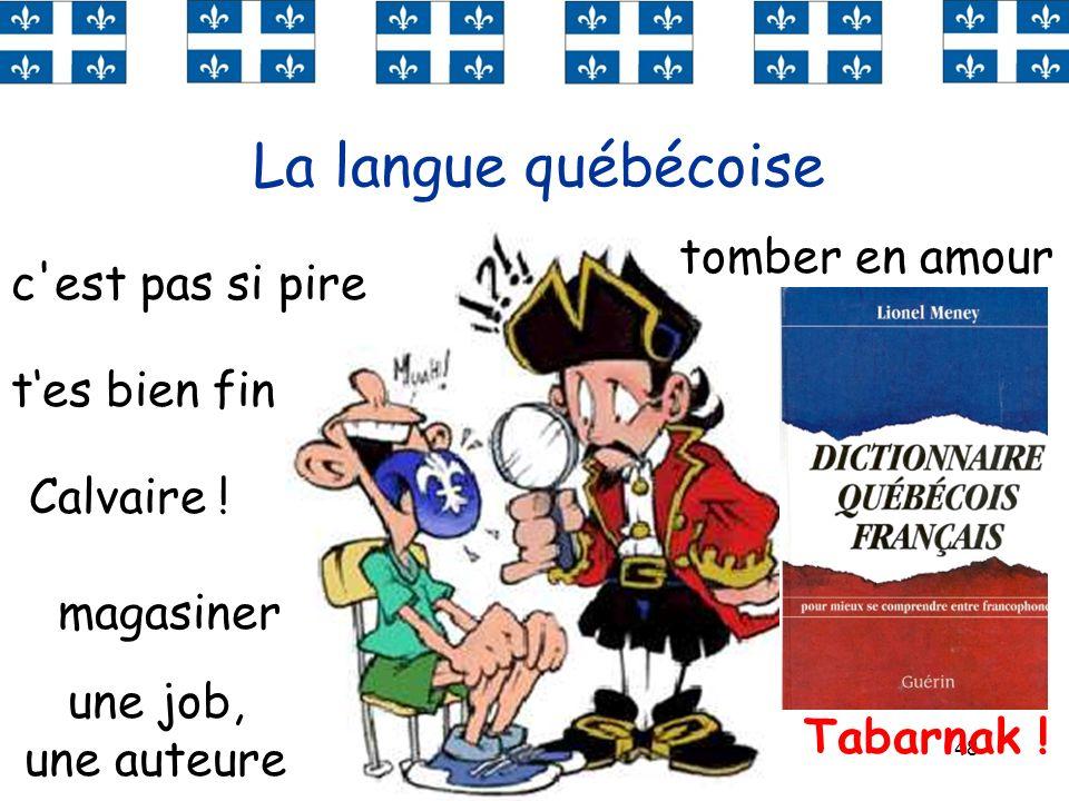 48 La langue québécoise tes bien fin Calvaire ! une tuque tomber en amour Tabarnak ! chauffer un char c'est pas si pire magasiner une job, une auteure