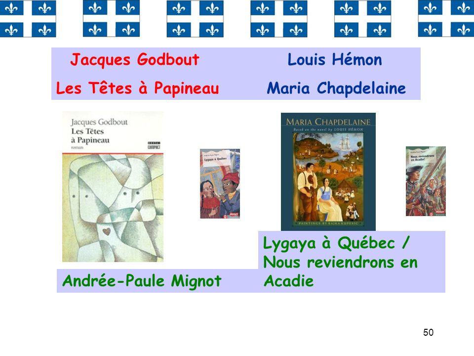 50 Jacques Godbout Louis Hémon Les Têtes à Papineau Maria Chapdelaine Andrée-Paule Mignot Lygaya à Québec / Nous reviendrons en Acadie