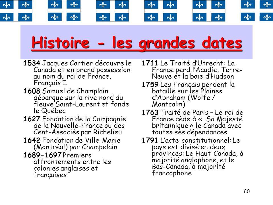 60 Histoire - les grandes dates 1534 Jacques Cartier découvre le Canada et en prend possession au nom du roi de France, François I. 1608 Samuel de Cha