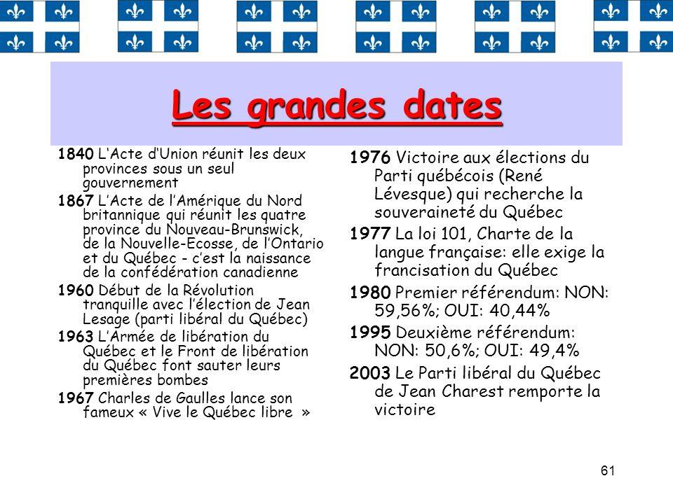61 Les grandes dates 1840 LActe dUnion réunit les deux provinces sous un seul gouvernement 1867 LActe de lAmérique du Nord britannique qui réunit les
