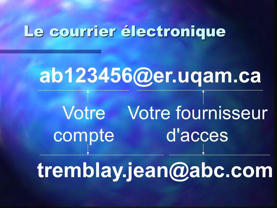 Le courrier électronique ab123456@er.uqam.ca tremblay.jean@abc.com Votre fournisseur d'acces Votre compte