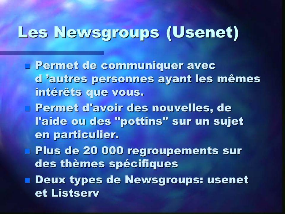 Les Newsgroups (Usenet) n Permet de communiquer avec d autres personnes ayant les mêmes intérêts que vous. n Permet d'avoir des nouvelles, de l'aide o
