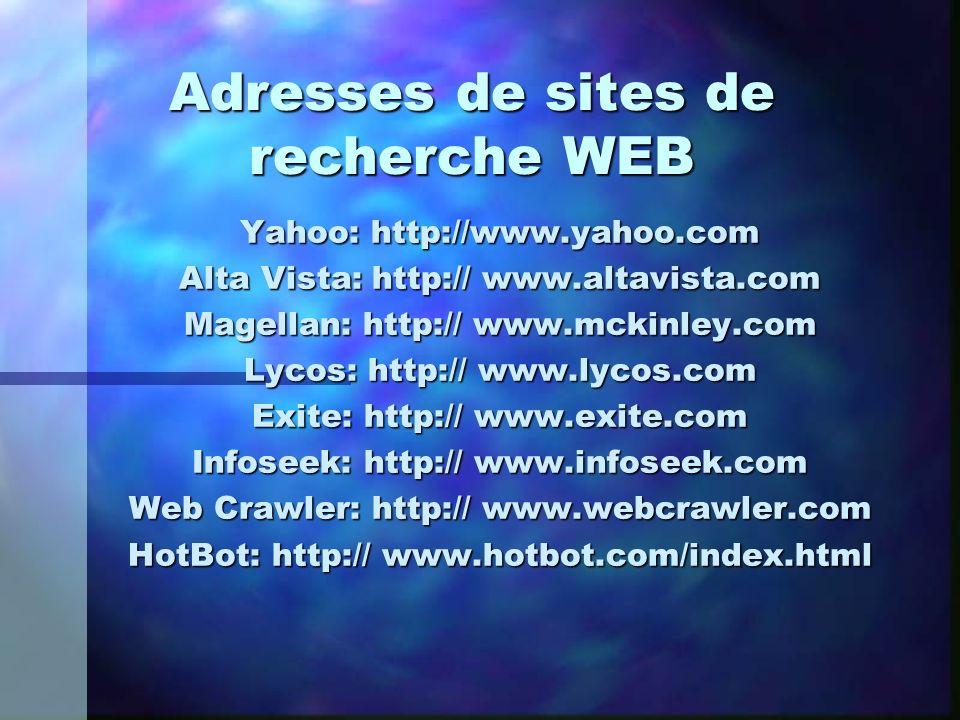 Adresses de sites de recherche WEB Yahoo: http://www.yahoo.com Alta Vista: http:// www.altavista.com Magellan: http:// www.mckinley.com Lycos: http://