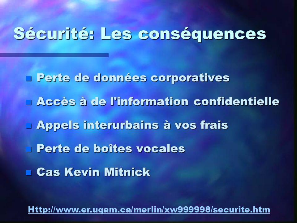 Sécurité: Les conséquences n Perte de données corporatives n Accès à de l'information confidentielle n Appels interurbains à vos frais n Perte de boît