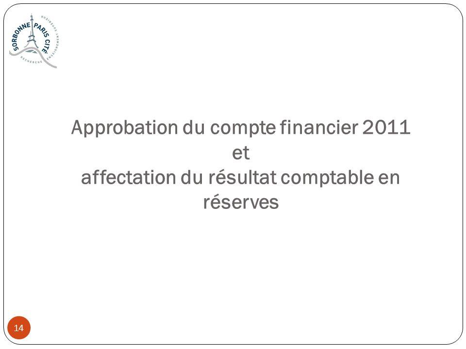 14 Approbation du compte financier 2011 et affectation du résultat comptable en réserves 14