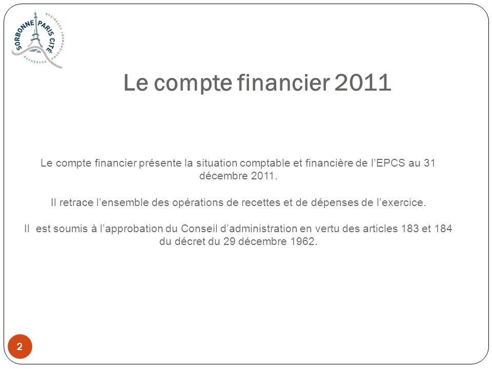 2 2 Le compte financier 2011 Le compte financier présente la situation comptable et financière de lEPCS au 31 décembre 2011. Il retrace lensemble des