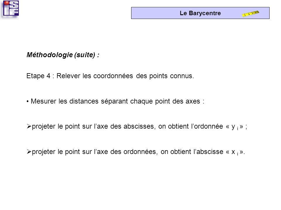 Le Barycentre Etape 3 : Placer les points dans un repère orthonormé. Prendre lorigine « O » du système à lextrême gauche des points à desservir, pour