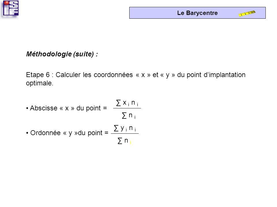 Le Barycentre Etape 5 : Pondérer les coordonnées par la valeur du trafic « t » et totaliser. Multiplier chaque coordonnée par le trafic correspondant