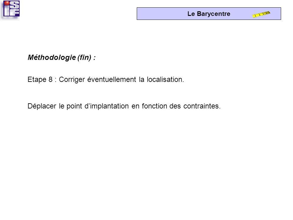 Le Barycentre Etape 7 : Localiser le point dimplantation. Reporter, sur le plan, les coordonnées du point dimplantation optimale : -mesurer « x » sur