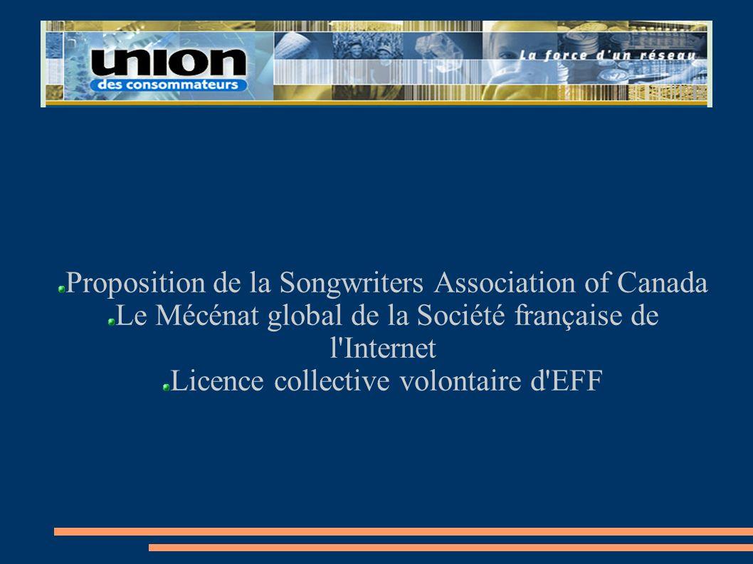 Proposition de la Songwriters Association of Canada Le Mécénat global de la Société française de l'Internet Licence collective volontaire d'EFF