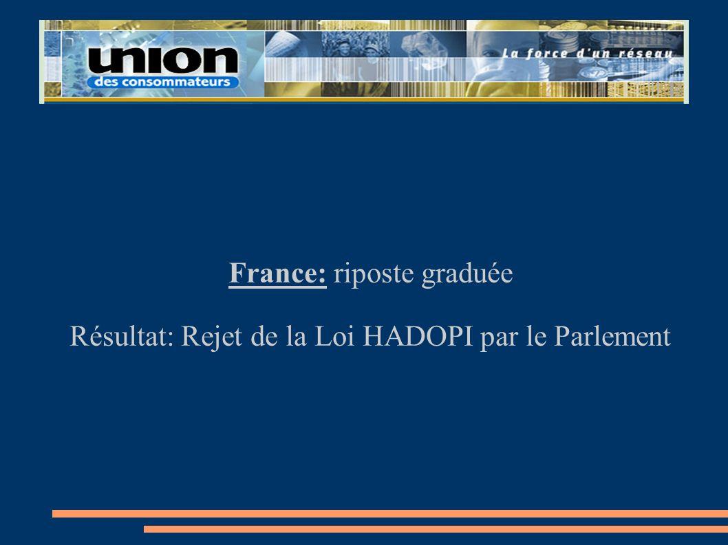 France: riposte graduée Résultat: Rejet de la Loi HADOPI par le Parlement
