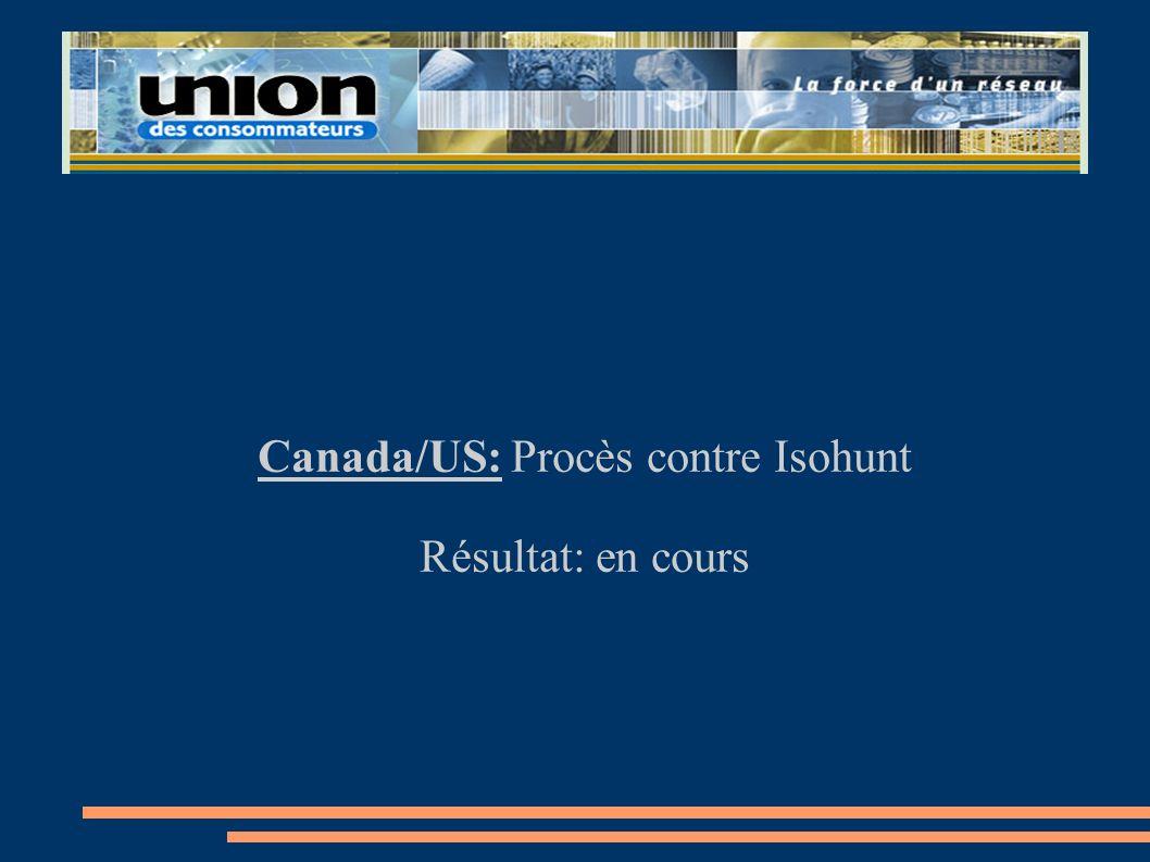 Canada/US: Procès contre Isohunt Résultat: en cours