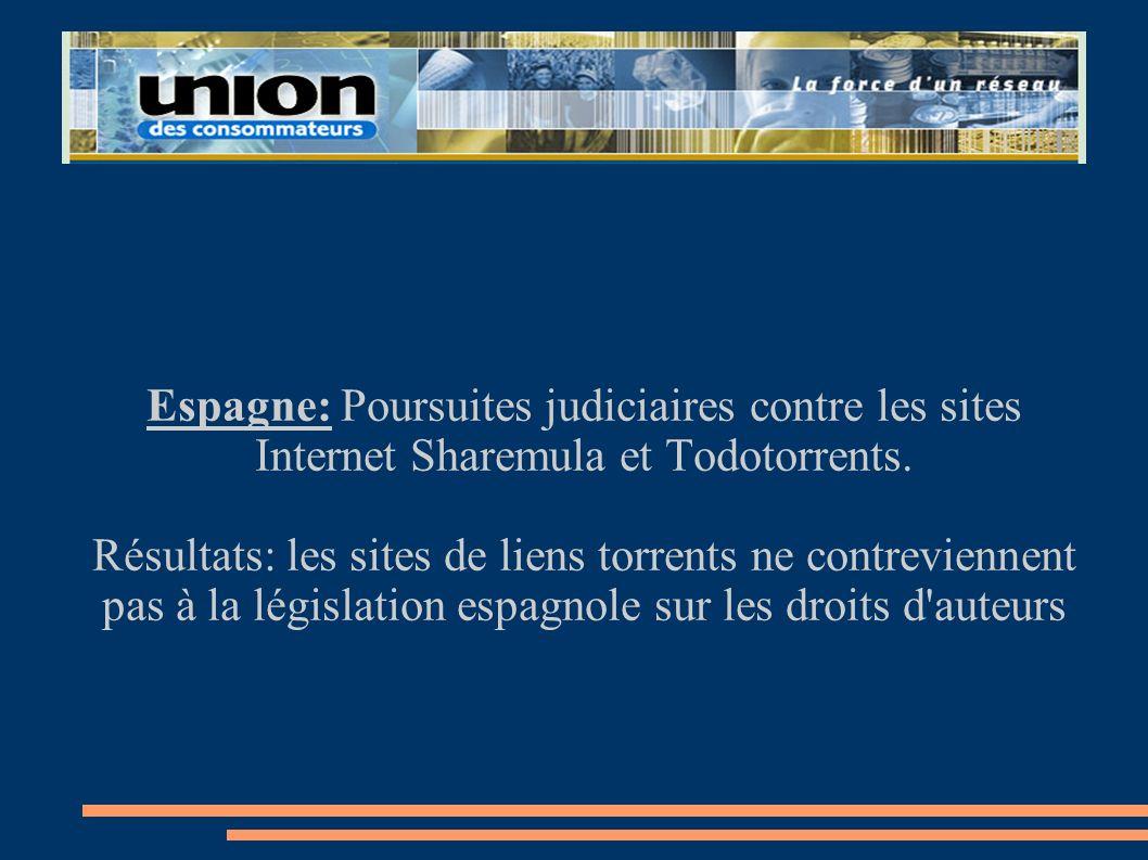 Espagne: Poursuites judiciaires contre les sites Internet Sharemula et Todotorrents. Résultats: les sites de liens torrents ne contreviennent pas à la