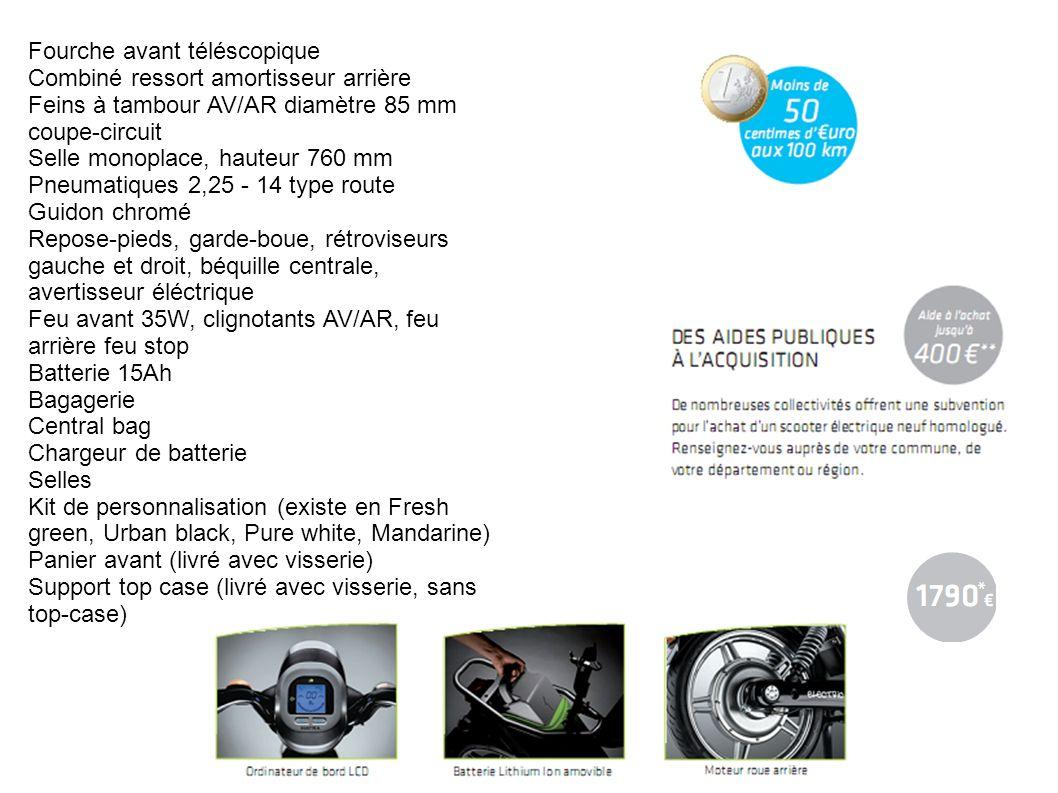 Fourche avant téléscopique Combiné ressort amortisseur arrière Feins à tambour AV/AR diamètre 85 mm coupe-circuit Selle monoplace, hauteur 760 mm Pneu