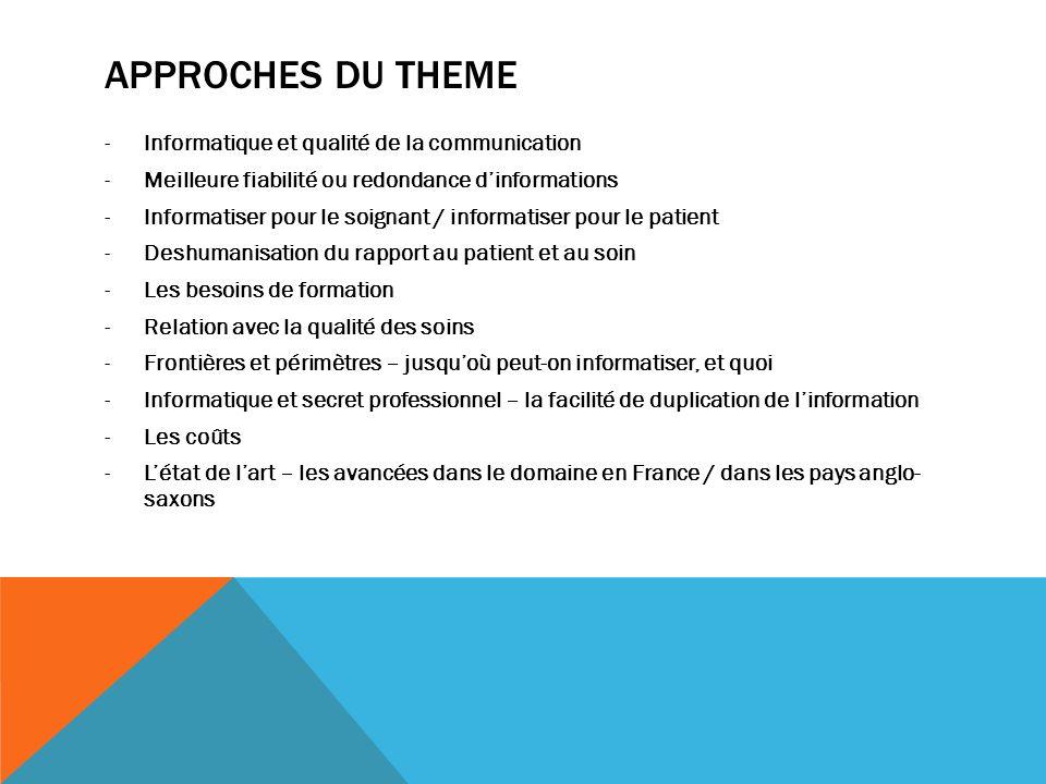 APPROCHES DU THEME -Informatique et qualité de la communication -Meilleure fiabilité ou redondance dinformations -Informatiser pour le soignant / info