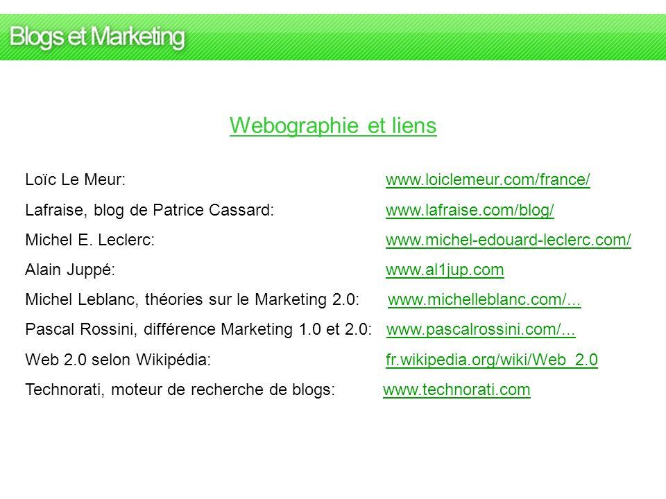 Webographie et liens Loïc Le Meur: www.loiclemeur.com/france/www.loiclemeur.com/france/ Lafraise, blog de Patrice Cassard: www.lafraise.com/blog/www.l