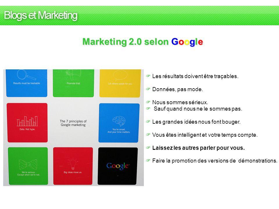 Marketing 2.0 selon Google Les résultats doivent être traçables. Données, pas mode. Nous sommes sérieux. Sauf quand nous ne le sommes pas. Les grandes