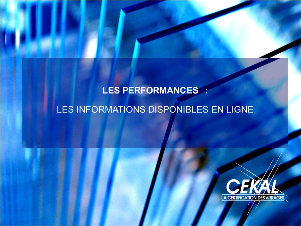 LES PERFORMANCES : LES INFORMATIONS DISPONIBLES EN LIGNE