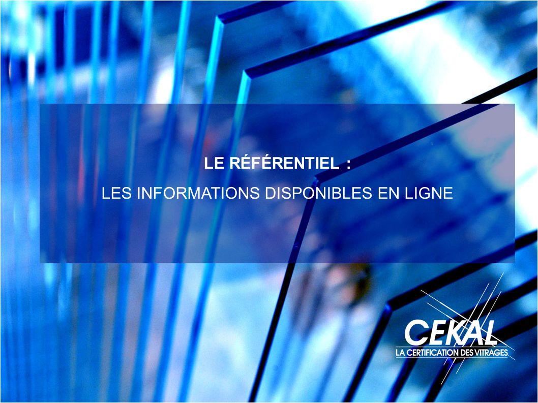 LE RÉFÉRENTIEL : LES INFORMATIONS DISPONIBLES EN LIGNE