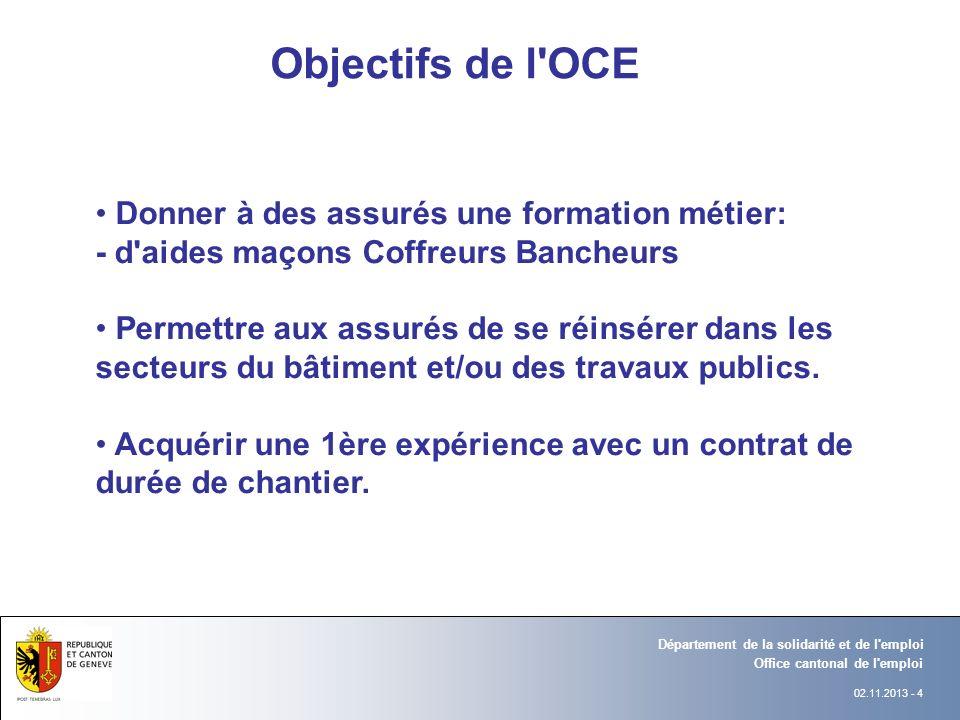 02.11.2013 - 4 Département Office Office cantonal de l'emploi Département de la solidarité et de l'emploi Département Office Objectifs de l'OCE Donner