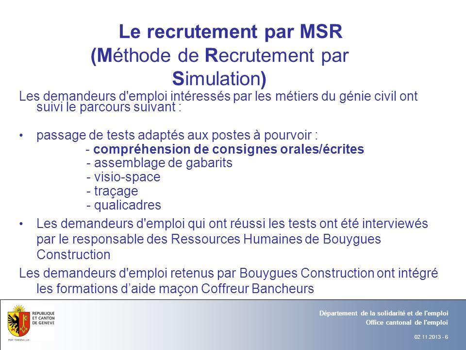 02.11.2013 - 6 Département Office Office cantonal de l'emploi Département de la solidarité et de l'emploi Département Office Le recrutement par MSR (M