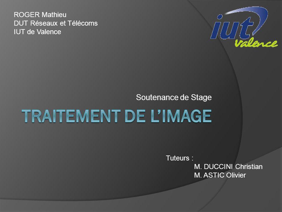 Soutenance de Stage ROGER Mathieu DUT Réseaux et Télécoms IUT de Valence Tuteurs : M. DUCCINI Christian M. ASTIC Olivier