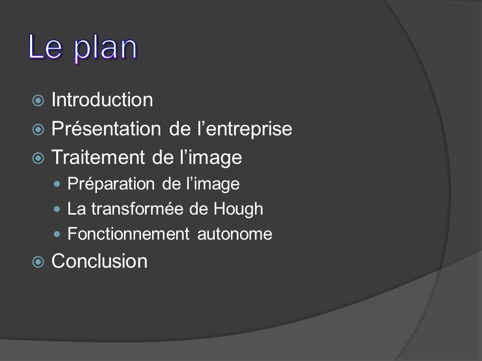 Introduction Présentation de lentreprise Traitement de limage Préparation de limage La transformée de Hough Fonctionnement autonome Conclusion