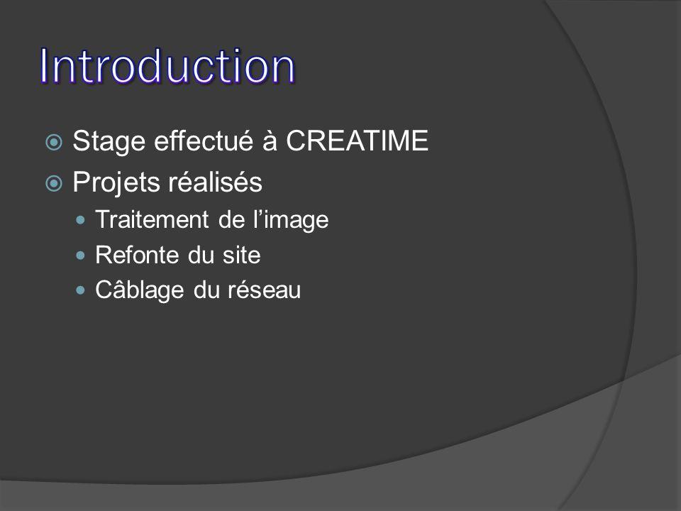 Stage effectué à CREATIME Projets réalisés Traitement de limage Refonte du site Câblage du réseau