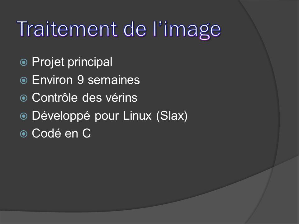 Projet principal Environ 9 semaines Contrôle des vérins Développé pour Linux (Slax) Codé en C