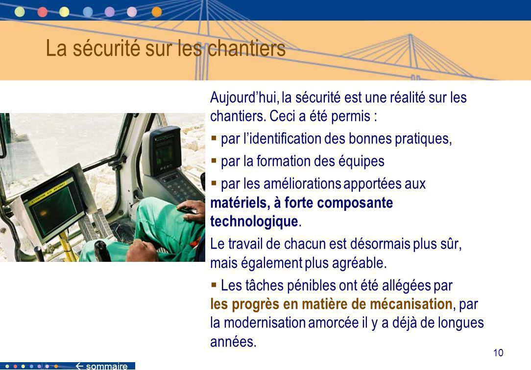 sommaire 10 Aujourdhui, la sécurité est une réalité sur les chantiers. Ceci a été permis : par lidentification des bonnes pratiques, par la formation