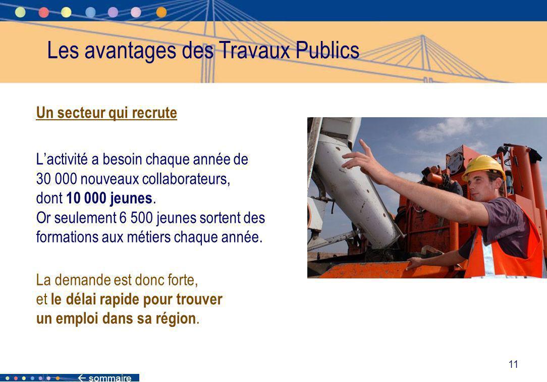 sommaire 11 Les avantages des Travaux Publics Un secteur qui recrute Lactivité a besoin chaque année de 30 000 nouveaux collaborateurs, dont 10 000 je