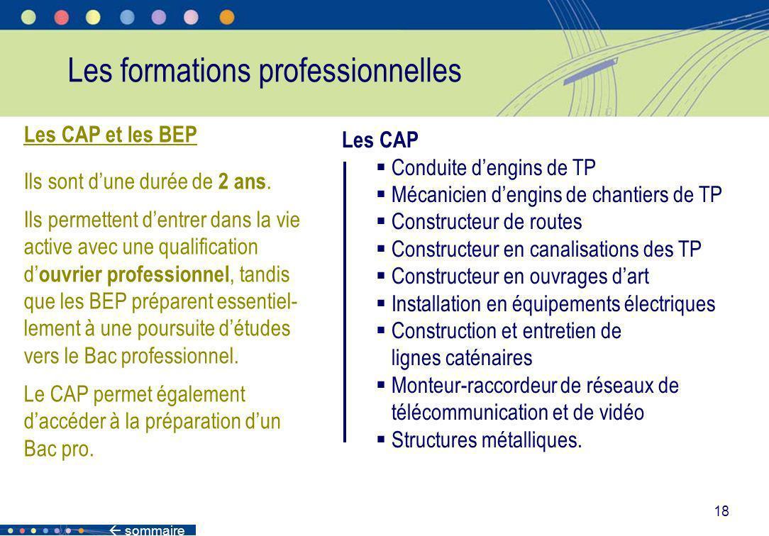 sommaire 18 Les formations professionnelles Les CAP et les BEP Ils sont dune durée de 2 ans. Ils permettent dentrer dans la vie active avec une qualif